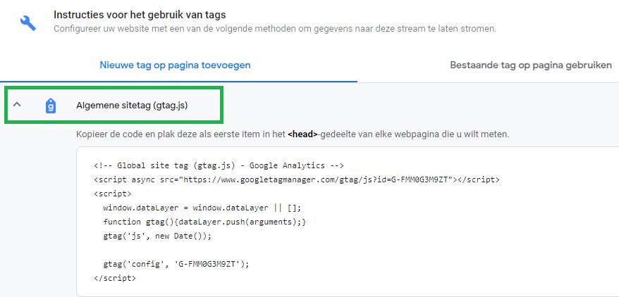 Google Analytics 4 instellen stap 2.1