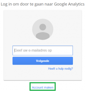 Google Analytics instellen - stap 2