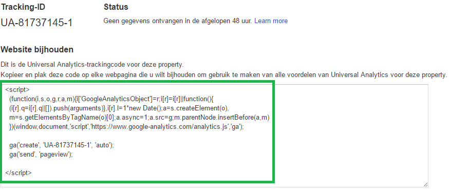 Google Analytics instellen - stap 7